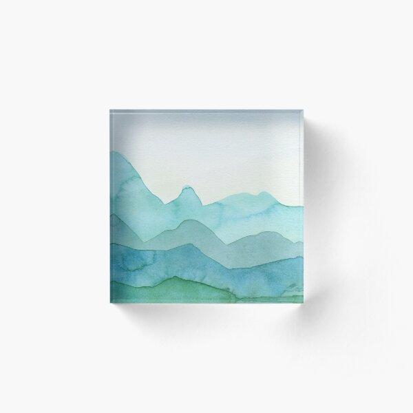 Berge in Grün, Türkis, Blau Acrylblock