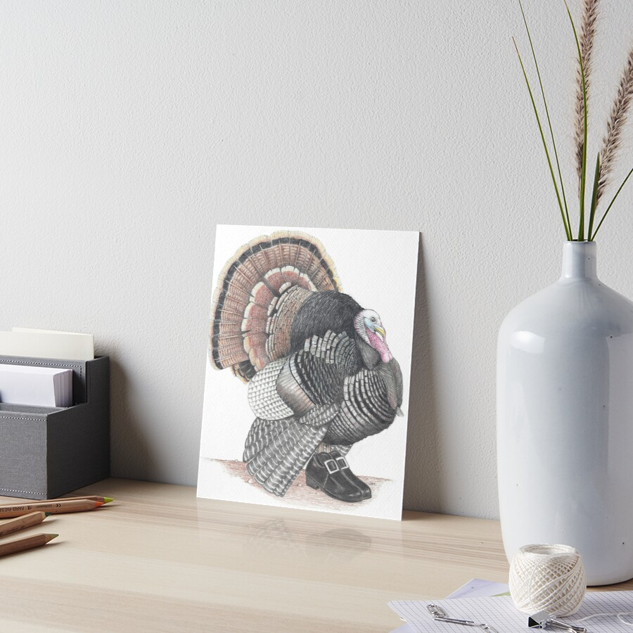 Turkey in Pilgrim shoes Art Board Print