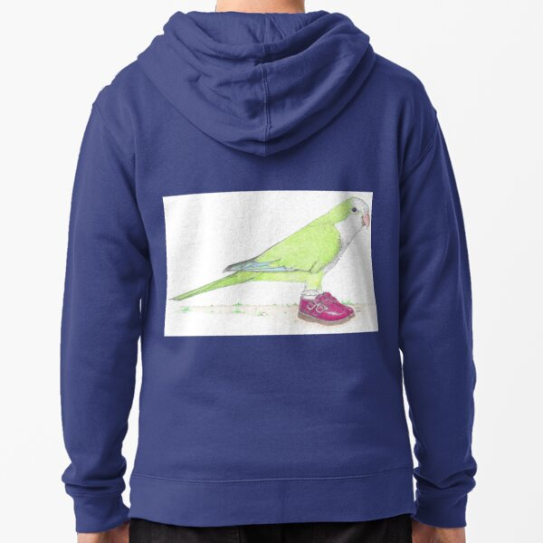 Quaker parrot in Mary Janes Zipped Hoodie