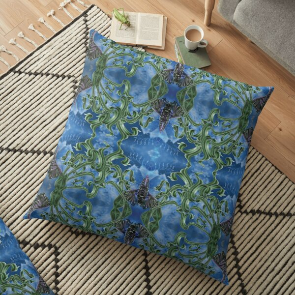 Off to School Flower Bloom Sky Pattern  Floor Pillow