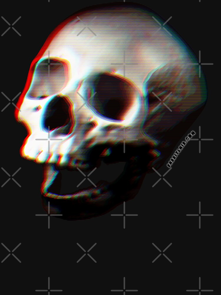 Glitched Anaglyph Skull - Grunge Screaming Skull by RabbitLair