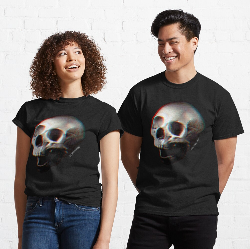 Glitched Anaglyph Skull - Grunge Screaming Skull Classic T-Shirt