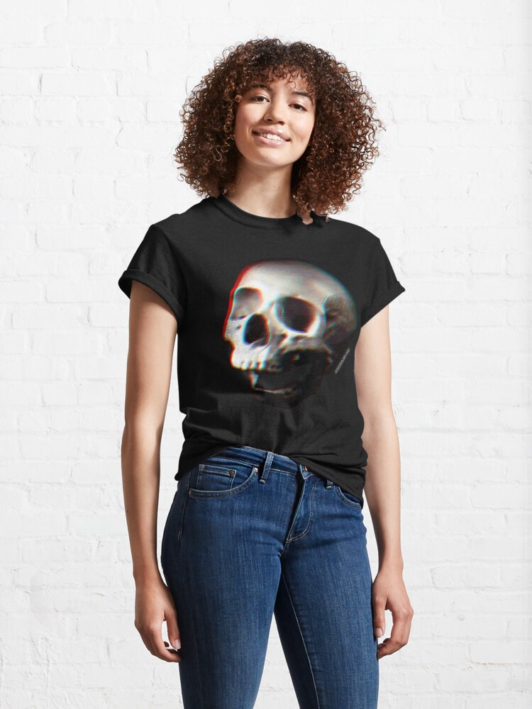 Alternate view of Glitched Anaglyph Skull - Grunge Screaming Skull Classic T-Shirt