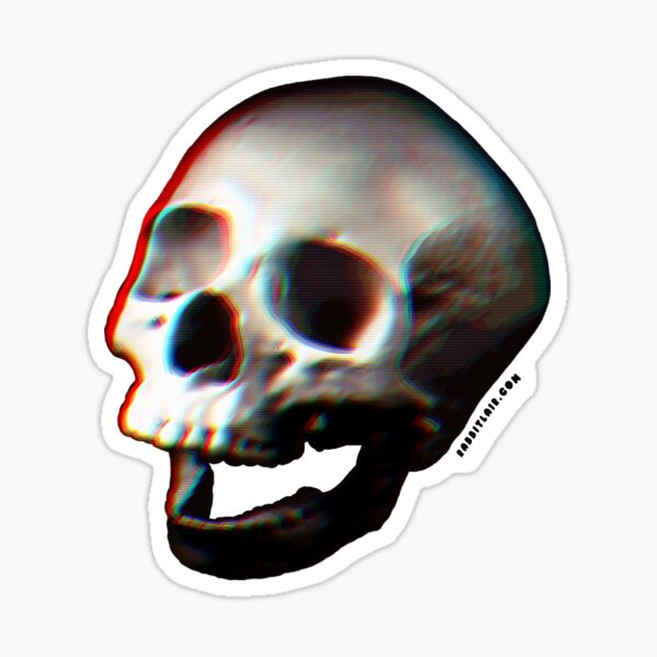 Glitched Anaglyph Skull - Grunge Screaming Skull Sticker