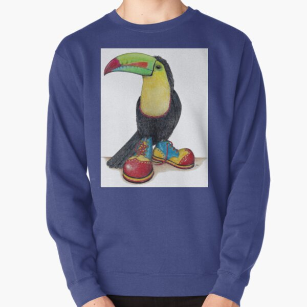 Toucan in clown shoes Pullover Sweatshirt