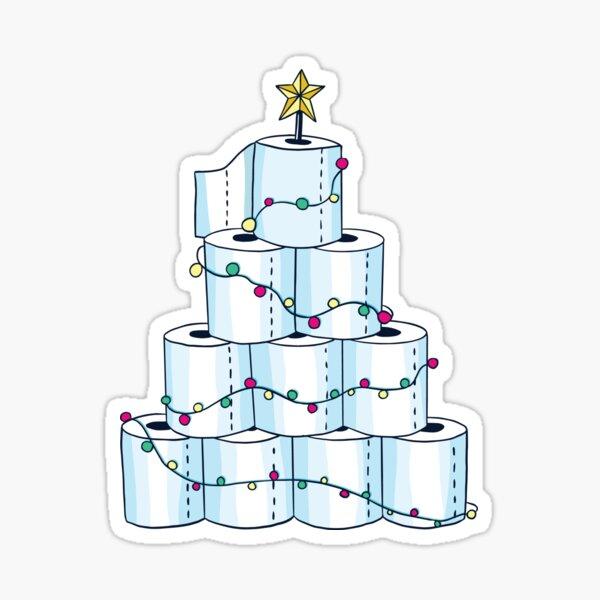 Merry Quarantine Toilet Paper Christmas Tree sticker Sticker
