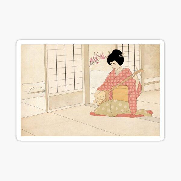 Geisha Playing Sticker
