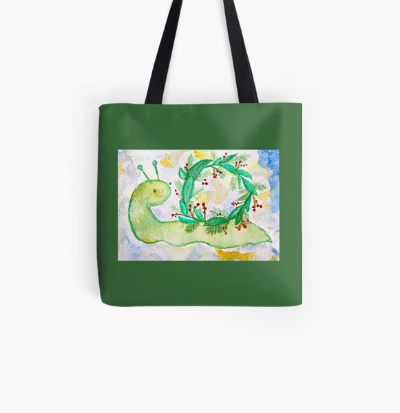 Holiday Snail All Over Print Tote Bag