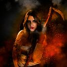 Grim reaper female DEATH carrying scythe wrapped in hell's flames  by PhotoStock-Isra
