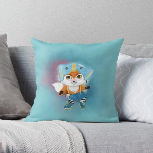 Fox on Skates Throw Pillow
