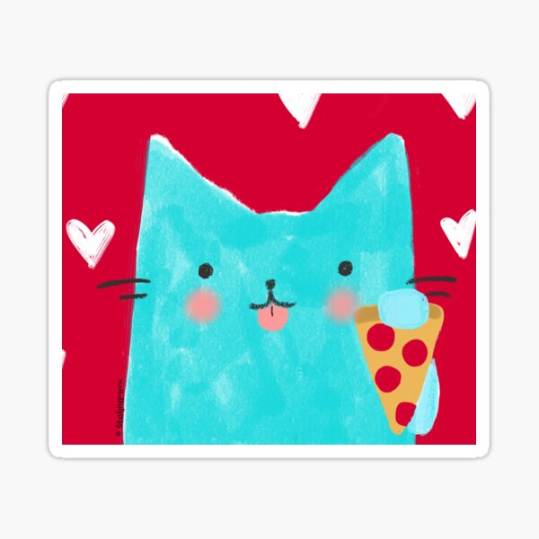 Cat and Pizza Sticker