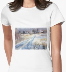 Before the Snowstorm in the Country. Russia Womens Fitted T-Shirt