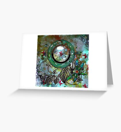 VINTAGE DRAGONFLY CLOCK ON BUTTERFLY TIME Greeting Card
