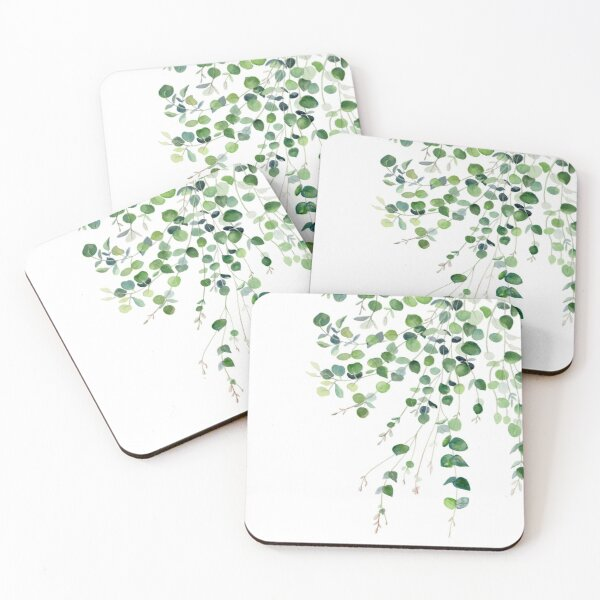 Eucalyptus Watercolor Coasters (Set of 4)