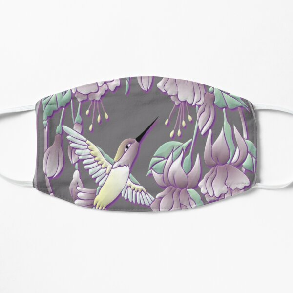 Hummingbird with Flowers Vector Graphic Flat Mask