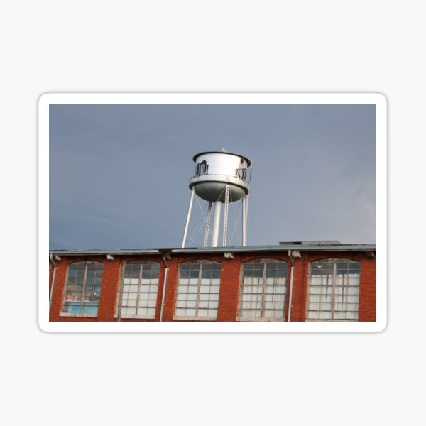 Lowe Mill Water Tower in Huntsville Alabama with a silver sky (Unedited) Sticker