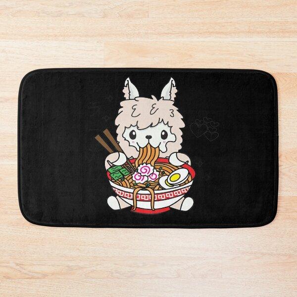 Llama Eating Ramen Cute Kawaii Noodles Bath Mat