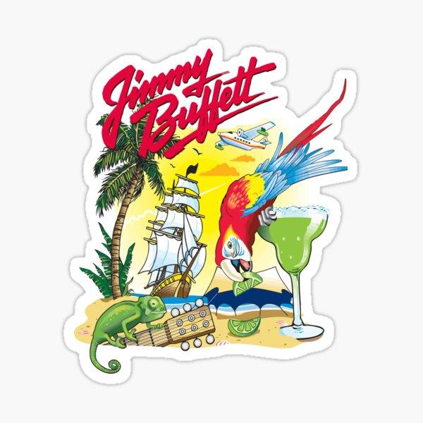 FINS UP Parrot Head Sticker ~ Water Bottle ~ Laptop ~ Car ~ Jimmy Buffett Decal