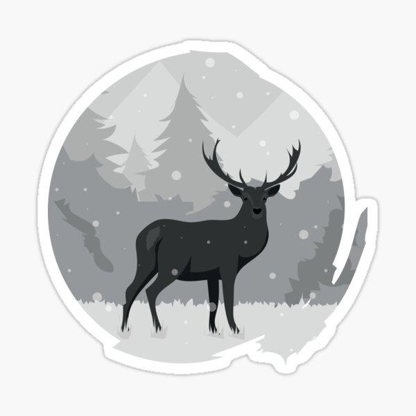 Winter Stag / Reindeer in Snow Illustration Sticker