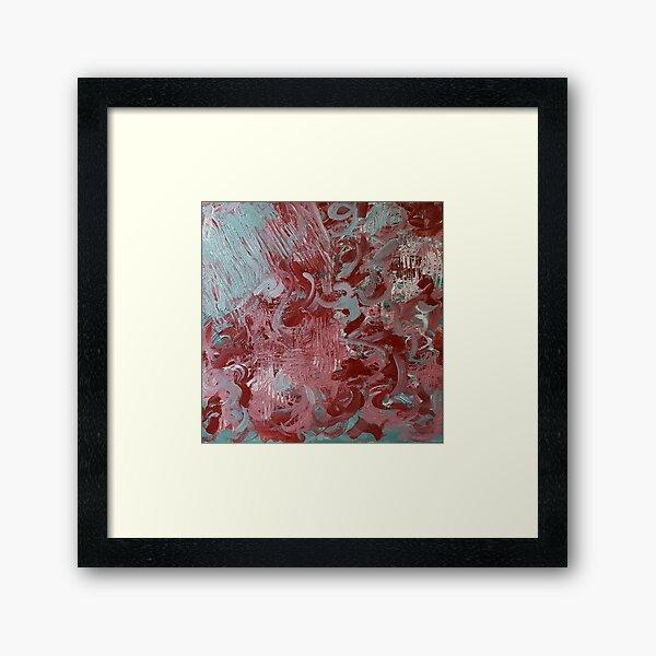 Abstract Red Aqua Pink Framed Art Print