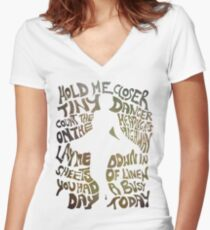 Tiny Dancer in Green Women's Fitted V-Neck T-Shirt