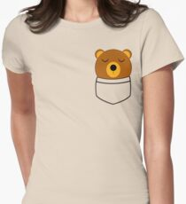 Napping pocket bear Womens Fitted T-Shirt