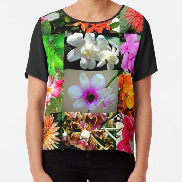 Flower Matrix 1 Hibiscus, Orchids, African Daisies Chiffon Top