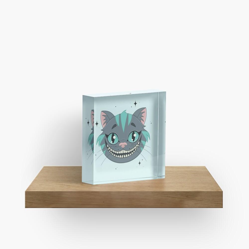 CHESHIRE CAT - teal Acrylic Block