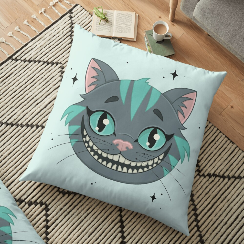 CHESHIRE CAT - teal Floor Pillow