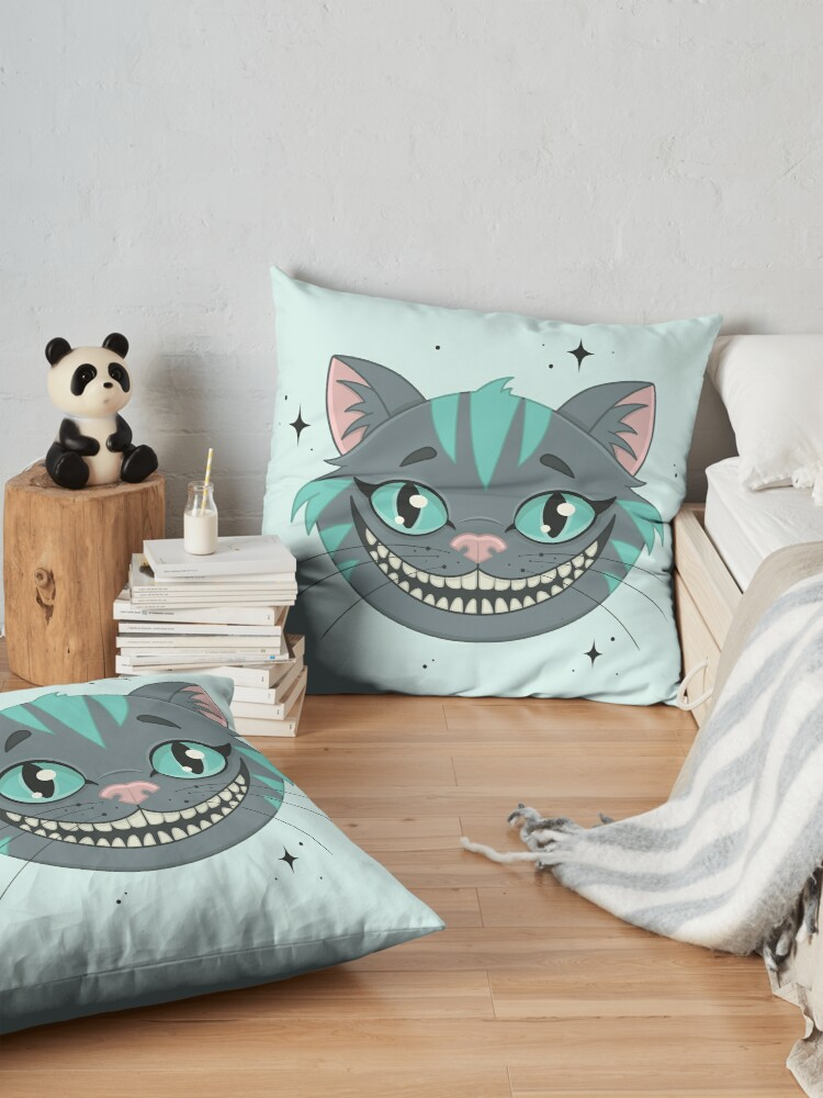 Alternate view of CHESHIRE CAT - teal Floor Pillow