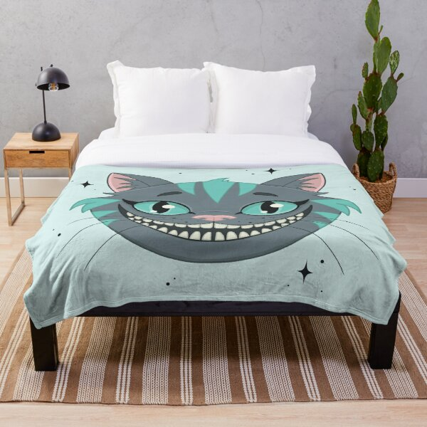 CHESHIRE CAT - teal Throw Blanket
