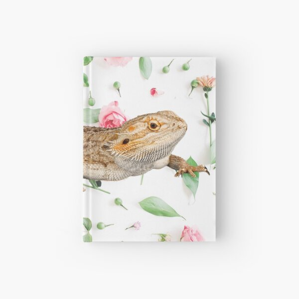 Bearded Dragon On A Carnation Background Hardcover Journal