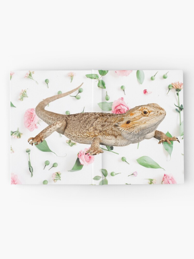 Alternate view of Bearded Dragon On A Carnation Background Hardcover Journal