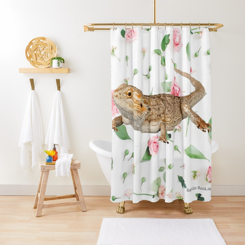 Bearded Dragon On A Carnation Background Shower Curtain