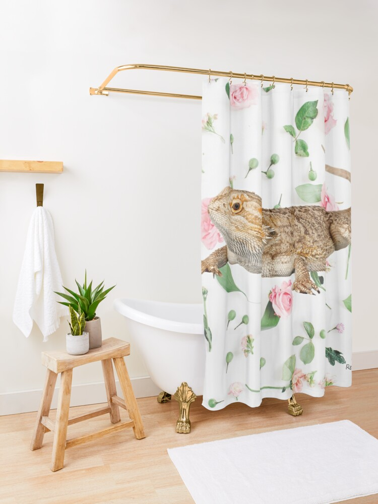 Alternate view of Bearded Dragon On A Carnation Background Shower Curtain