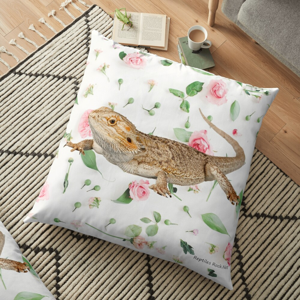 Bearded Dragon On A Carnation Background Floor Pillow