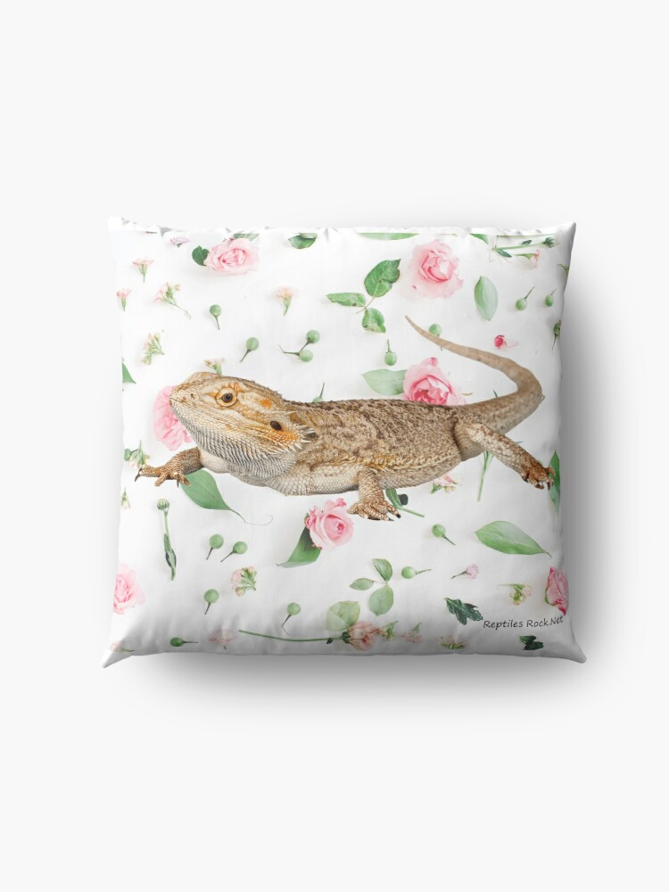 Alternate view of Bearded Dragon On A Carnation Background Floor Pillow