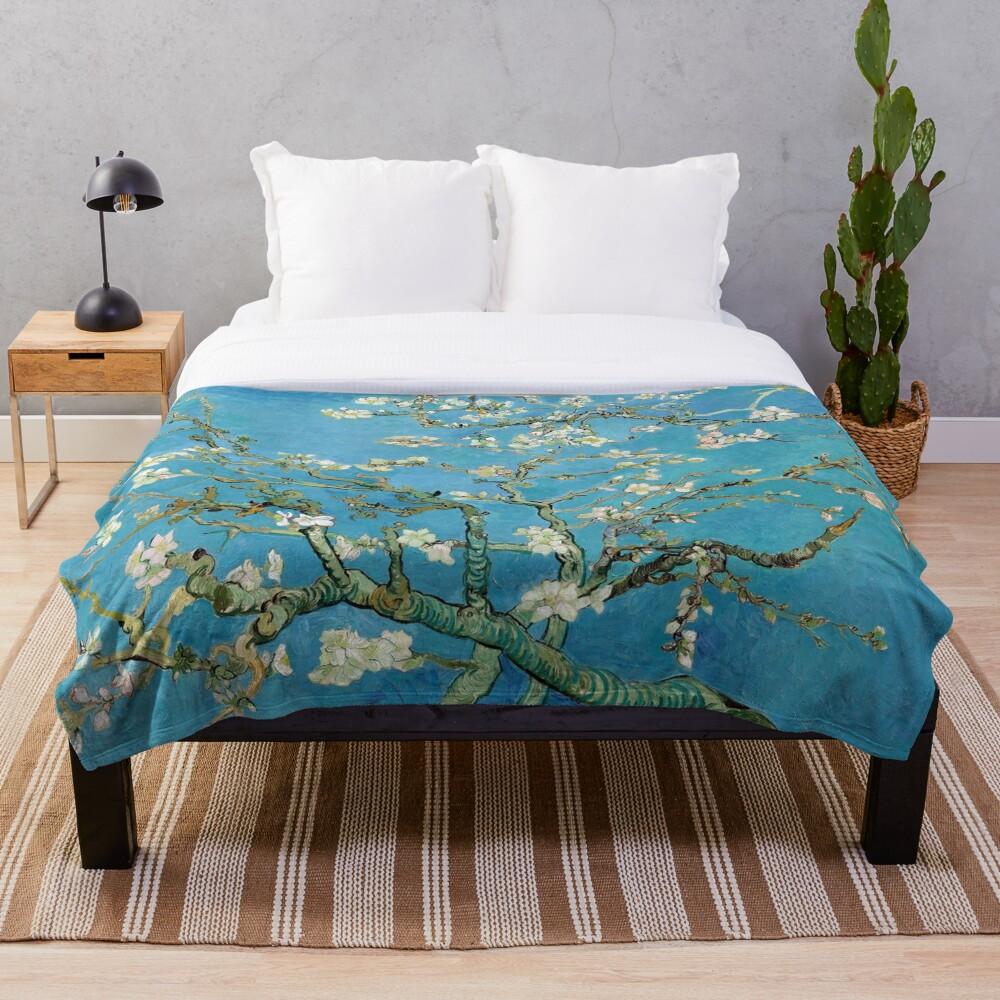 1890-Vincent van Gogh-Almond blossom-73.5x92 Throw Blanket