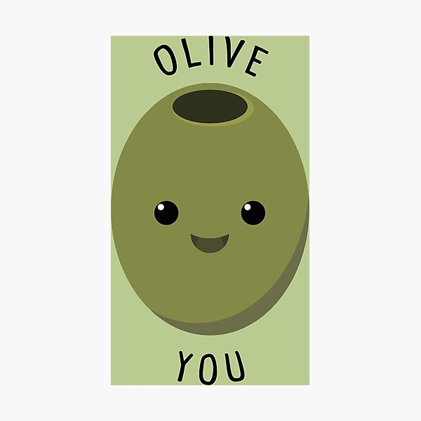 Olive You - Cute I Love You Pun Green Photographic Print