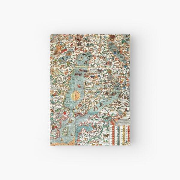 Carta Marina, map of Scandinavia by Olaus Magnus - 1539 Hardcover Journal