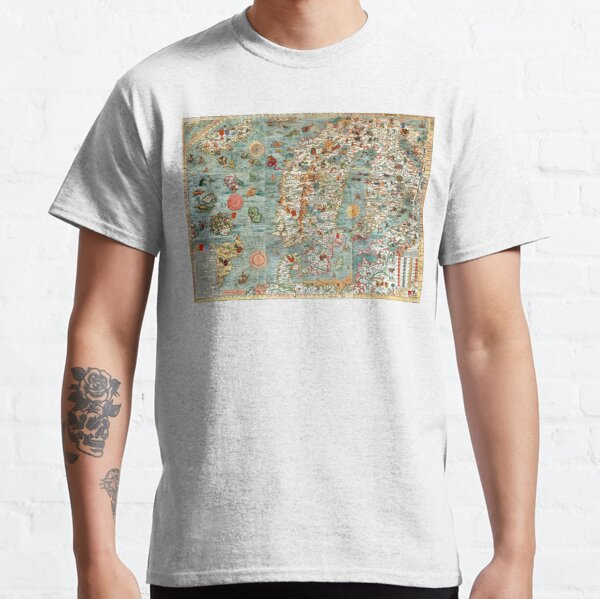 Carta Marina, map of Scandinavia by Olaus Magnus - 1539 Classic T-Shirt