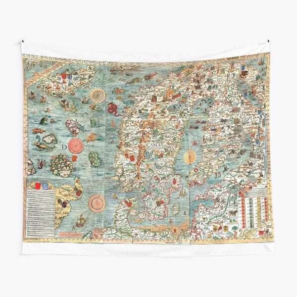Carta Marina, map of Scandinavia by Olaus Magnus - 1539 Tapestry