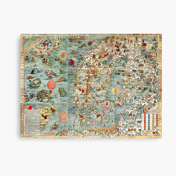 Carta Marina, map of Scandinavia by Olaus Magnus - 1539 Canvas Print
