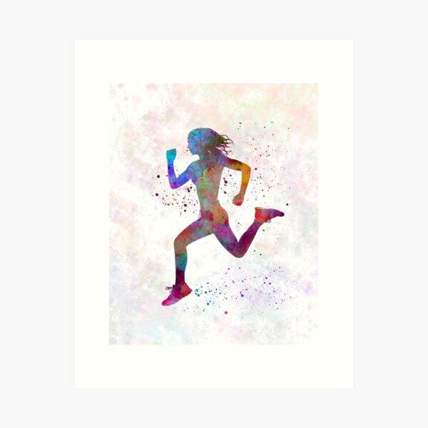 Woman runner running jogger jogging silhouette 01 Art Print