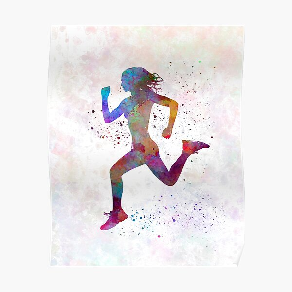 Woman runner running jogger jogging silhouette 01 Poster