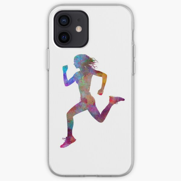 Woman runner running jogger jogging silhouette 01 iPhone Soft Case