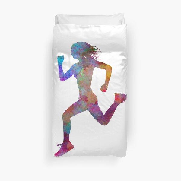 Woman runner running jogger jogging silhouette 01 Duvet Cover