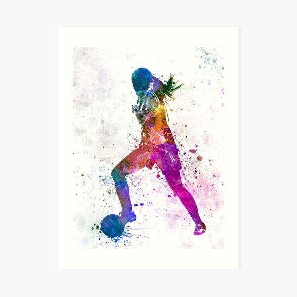 Girl playing soccer football player silhouette Art Print