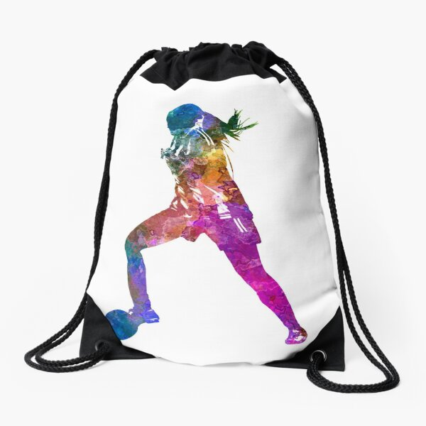 Girl playing soccer football player silhouette Drawstring Bag