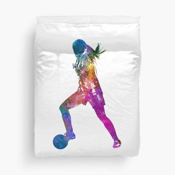 Girl playing soccer football player silhouette Duvet Cover